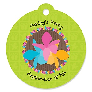 Luau - Round Personalized Party Tags - 20 ct