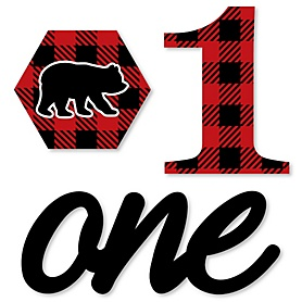 1st Birthday Lumberjack - Channel The Flannel - DIY Shaped Buffalo Plaid First Birthday Party Cut-Outs - 24 ct