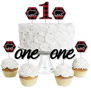 1st Birthday Lumberjack - Channel The Flannel - Dessert Cupcake Toppers - Buffalo Plaid First Birthday Party Clear Treat Picks - Set of 24