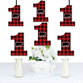1st Birthday Lumberjack - Channel The Flannel - One Shaped Decorations DIY Buffalo Plaid First Birthday Party Essentials - Set of 20