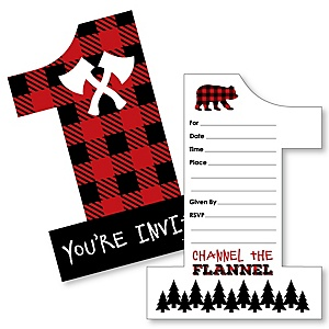 1st Birthday Lumberjack - Channel The Flannel - Shaped Fill-In Invitations - Buffalo Plaid First Birthday Party Invitation Cards with Envelopes - Set of 12