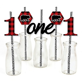 1st Birthday Lumberjack - Channel The Flannel - Paper Straw Decor - Buffalo Plaid First Birthday Party Striped Decorative Straws - Set of 24