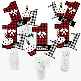 1st Birthday Lumberjack - Channel The Flannel - Buffalo Plaid First Birthday Party Centerpiece Sticks - Table Toppers - Set of 15