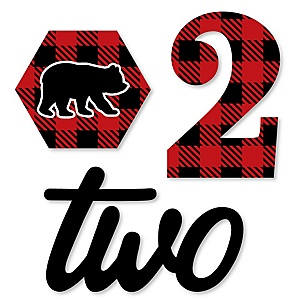 2nd Birthday Lumberjack - Channel The Flannel - DIY Shaped Buffalo Plaid Second Birthday Party Cut-Outs - 24 ct