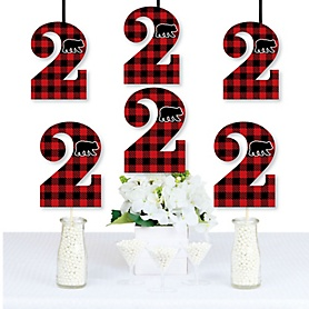 2nd Birthday Lumberjack - Channel The Flannel - Two Shaped Decorations DIY Buffalo Plaid Second Birthday Party Essentials - Set of 20