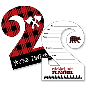 2nd Birthday Lumberjack - Channel The Flannel - Shaped Fill-In Invitations - Buffalo Plaid First Birthday Party Invitation Cards with Envelopes - Set of 12