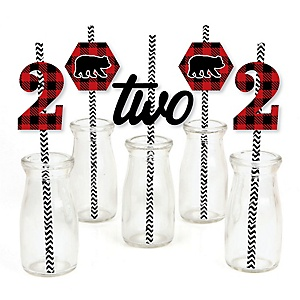 2nd Birthday Lumberjack - Channel The Flannel - Paper Straw Decor - Buffalo Plaid Second Birthday Party Striped Decorative Straws - Set of 24