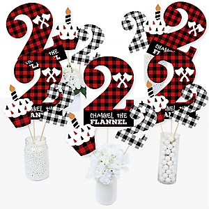 2nd Birthday Lumberjack - Channel The Flannel - Buffalo Plaid Second Birthday Party Centerpiece Sticks - Table Toppers - Set of 15