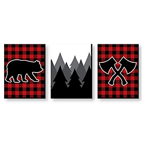 Lumberjack - Channel The Flannel - Buffalo Plaid Nursery Wall Art, Rustic Kids Room Decor and Cabin Home Decorations  - 7.5 x 10 inches - Set of 3 Prints