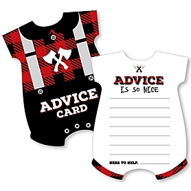 Lumberjack - Channel The Flannel - Baby Bodysuit Wish Card Buffalo Plaid Baby Shower Activities - Shaped Advice Cards Game - Set of 20
