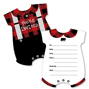 Lumberjack - Channel The Flannel - Baby Bodysuit Shaped Fill-In Invitations - Buffalo Plaid Party Invitation Cards with Envelopes - Set of 12