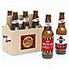 Lumberjack - Channel The Flannel - 6 Buffalo Plaid Beer Bottle Label Stickers and 1 Carrier