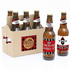 Lumberjack - Channel The Flannel - Decorations for Women and Men - 6 Buffalo Plaid Beer Bottle Label Stickers and 1 Carrier