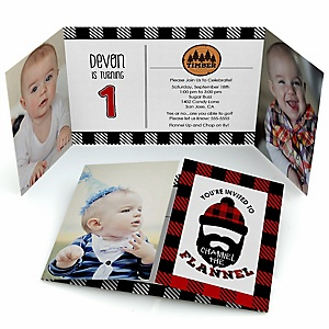 Lumberjack - Channel The Flannel - Personalized Buffalo Plaid Birthday Party Photo Invitations - Set of 12
