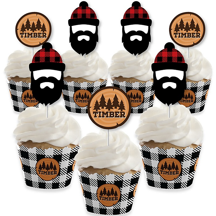 Lumberjack - Channel The Flannel - Cupcake Decorations - Buffalo Plaid Party Cupcake Wrappers and Treat Picks Kit - Set of 24