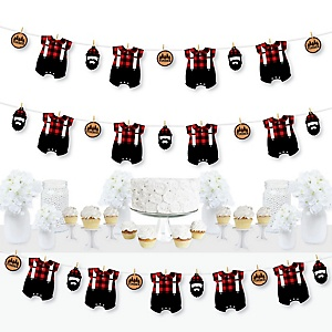 Lumberjack - Channel The Flannel - Buffalo Plaid Party DIY Decorations - Clothespin Garland Banner - 44 Pieces
