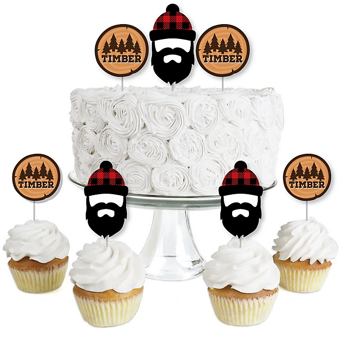 Lumberjack - Channel The Flannel - Dessert Cupcake Toppers - Buffalo Plaid Party Clear Treat Picks - Set of 24