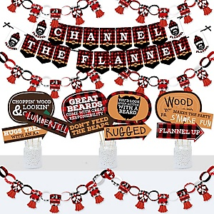 Lumberjack - Channel The Flannel - Banner and Photo Booth Decorations - Buffalo Plaid Party Supplies Kit - Doterrific Bundle