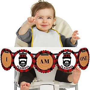 Lumberjack - Channel The Flannel 1st Birthday - I am One - Buffalo Plaid First Birthday High Chair Birthday Banner