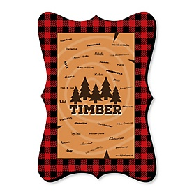 Lumberjack - Channel The Flannel - Unique Alternative Guest Book - Buffalo Plaid Party Signature Mat