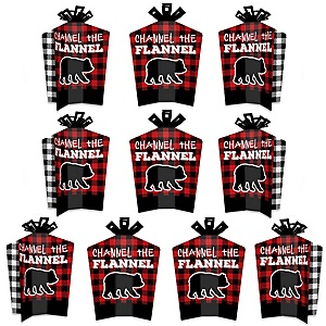 Lumberjack - Channel The Flannel - Table Decorations - Buffalo Plaid Party Fold and Flare Centerpieces - 10 Count