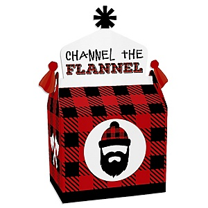 Lumberjack - Channel The Flannel - Treat Box Party Favors - Buffalo Plaid Party Goodie Gable Boxes - Set of 12