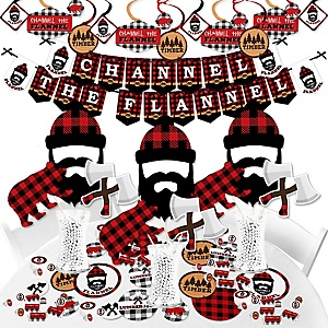 Lumberjack - Channel The Flannel - Buffalo Plaid Party Supplies - Banner Decoration Kit - Fundle Bundle