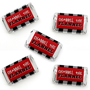 Lumberjack - Channel The Flannel - Mini Candy Bar Wrapper Stickers - Buffalo Plaid Party Small Favors - 40 Count
