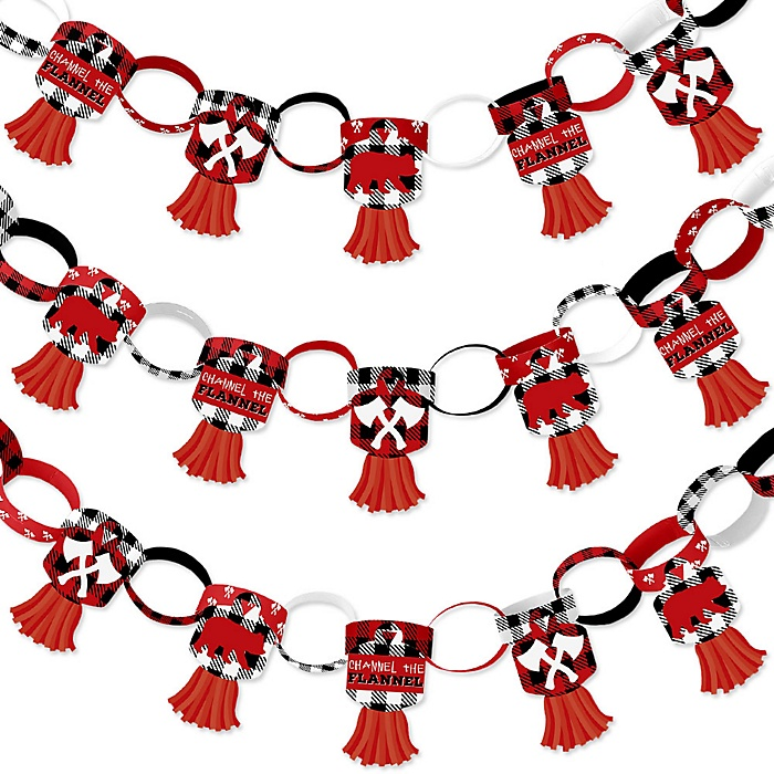 Lumberjack - Channel The Flannel - 90 Chain Links and 30 Paper Tassels Decoration Kit - Buffalo Plaid Party Paper Chains Garland - 21 feet
