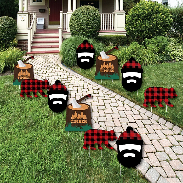 Lumberjack - Channel The Flannel - Bear and Lumberjack Lawn Decorations - Outdoor Buffalo Plaid Yard Decorations - 10 Piece