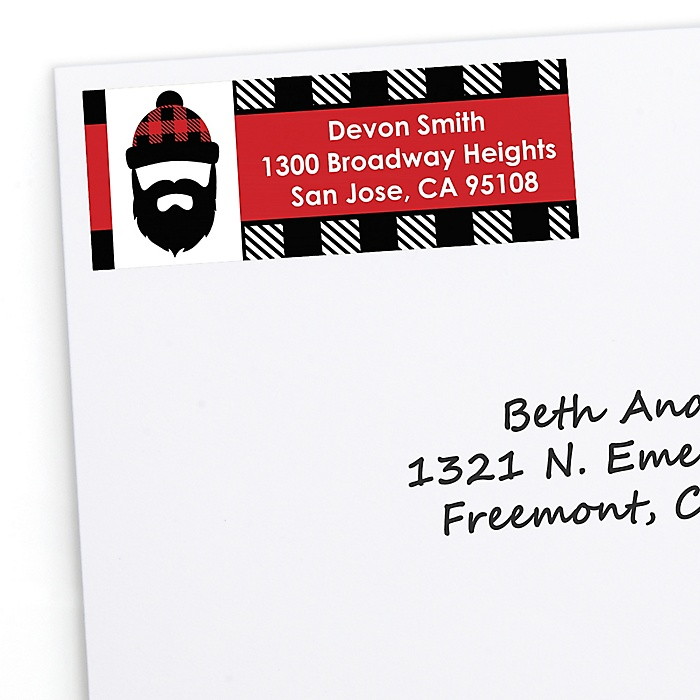 Lumberjack - Channel The Flannel - Personalized Buffalo Plaid Party Return Address Labels - 30 ct