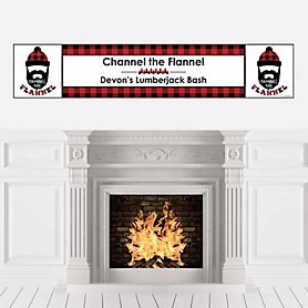 Lumberjack - Channel The Flannel - Personalized Buffalo Plaid Party Banner