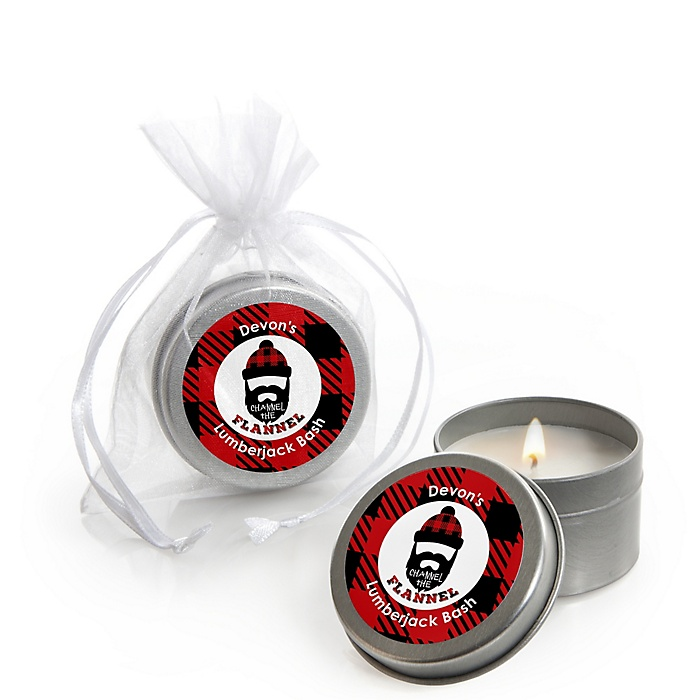 Lumberjack - Channel The Flannel - Personalized Buffalo Plaid Party Candle Tin Favors - Set of 12