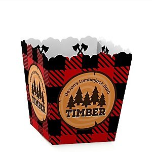Lumberjack - Channel The Flannel - Party Mini Favor Boxes - Personalized Buffalo Plaid Party Treat Candy Boxes - Set of 12