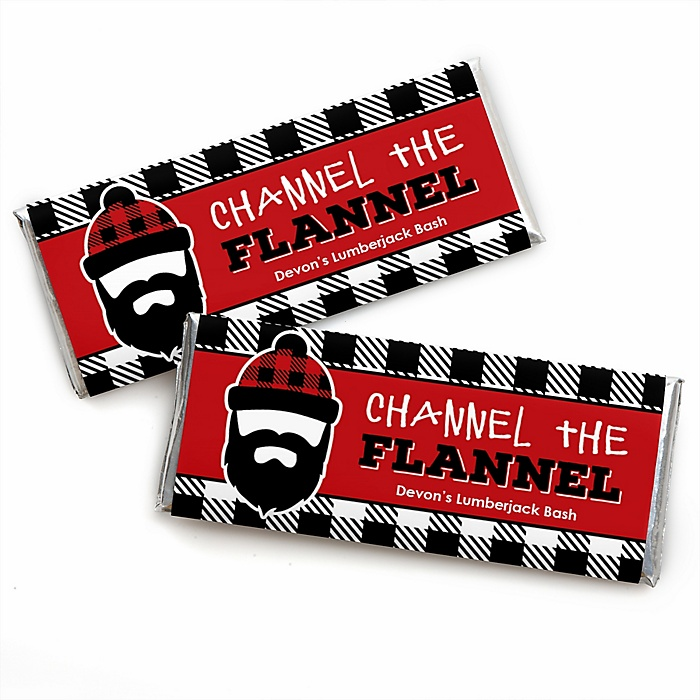 Lumberjack - Channel The Flannel - Personalized Candy Bar Wrapper Buffalo Plaid Party Favors - Set of 24