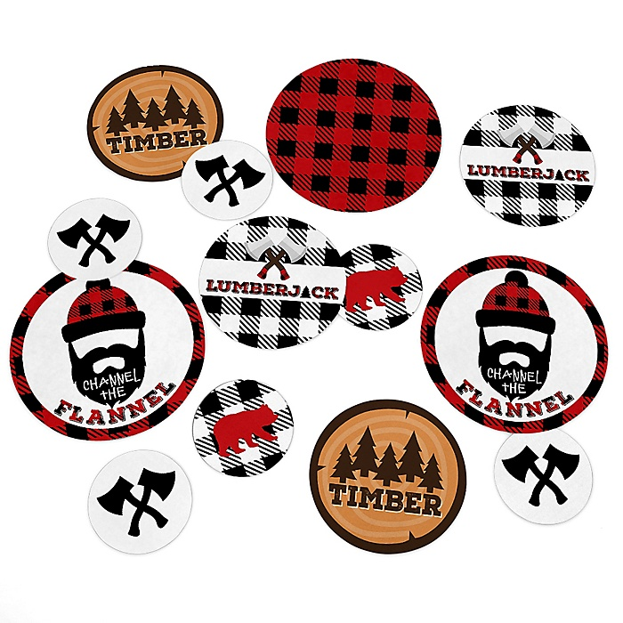 Lumberjack - Channel The Flannel - Buffalo Plaid Party Giant Circle Confetti - Party Decorations - Large Confetti 27 Count