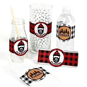 Lumberjack - Channel The Flannel - DIY Party Supplies - Buffalo Plaid Party DIY Wrapper Favors & Decorations - Set of 15