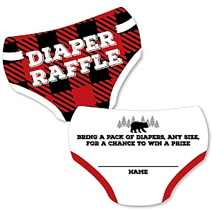 Lumberjack - Channel The Flannel - Diaper Shaped Raffle Ticket Inserts - Buffalo Plaid Baby Shower Activities - Diaper Raffle Game - Set of 24