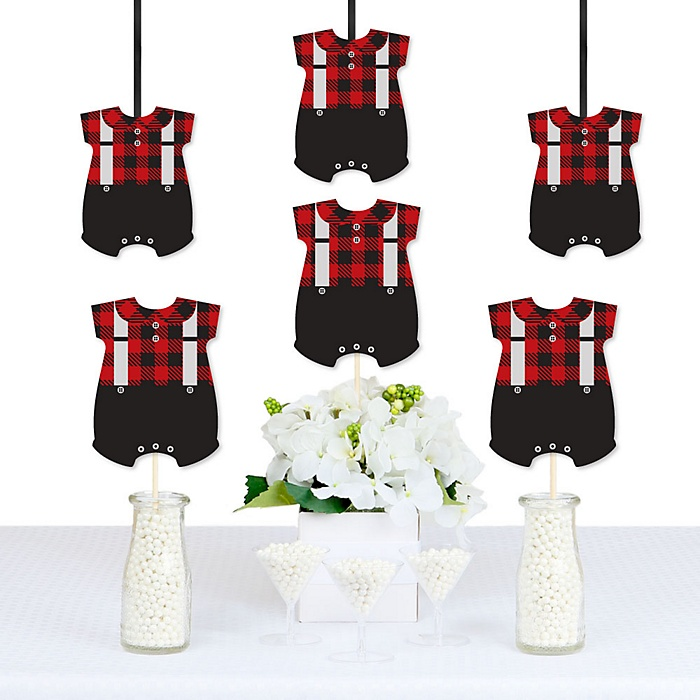 Lumberjack - Channel The Flannel - Baby Bodysuit Decorations DIY Buffalo Plaid Baby Shower Party Essentials - Set of 20