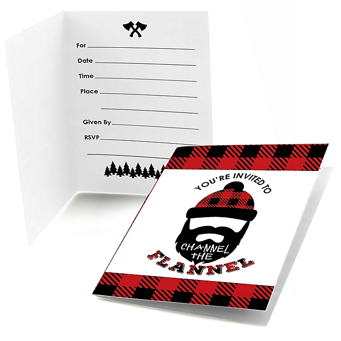 Lumberjack - Channel The Flannel - Fill In Buffalo Plaid Party Invitations - 8 ct