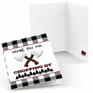 Lumberjack - Channel The Flannel - Buffalo Plaid Party Thank You Cards - 8 ct