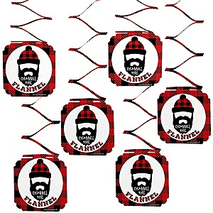 Lumberjack - Channel The Flannel - Buffalo Plaid Party Hanging Decorations - 6 ct