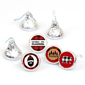 Lumberjack - Channel The Flannel - Buffalo Plaid Party Round Candy Sticker Favors - Labels Fit Hershey's Kisses  - 108 ct