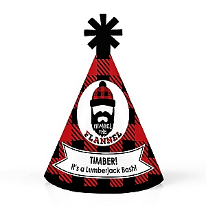 Lumberjack - Channel The Flannel - Personalized Mini Cone Buffalo Plaid Party Hats - Small Little Party Hats - Set of 10