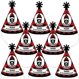 Lumberjack - Channel The Flannel - Mini Cone Buffalo Plaid Party Hats - Small Little Party Hats - Set of 8