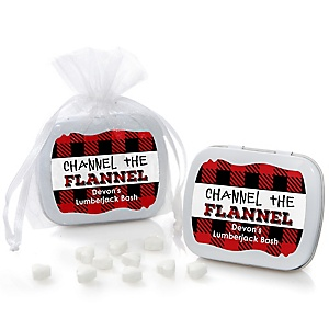 Lumberjack - Channel The Flannel - Personalized Mint Tin Buffalo Plaid Party Favors