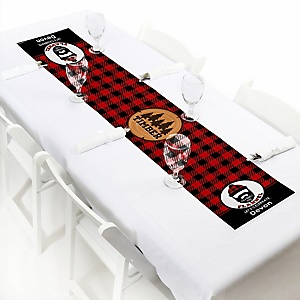 "Lumberjack - Channel The Flannel - Personalized Petite Buffalo Plaid Party Table Runner - 12"" x 60"""