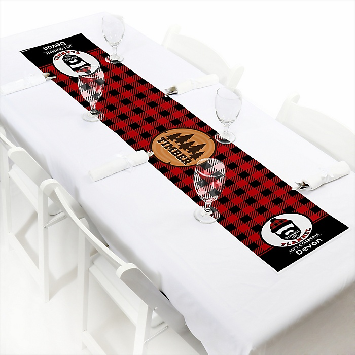 """Lumberjack - Channel The Flannel - Personalized Petite Buffalo Plaid Party Table Runner - 12"""" x 60"""""""