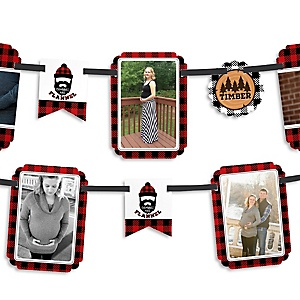 Lumberjack - Channel The Flannel - Buffalo Plaid Party Photo Garland Banners