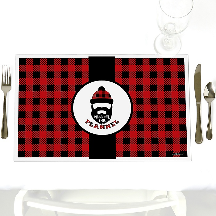 Lumberjack - Channel The Flannel - Party Table Decorations - Buffalo Plaid Party Placemats - Set of 12